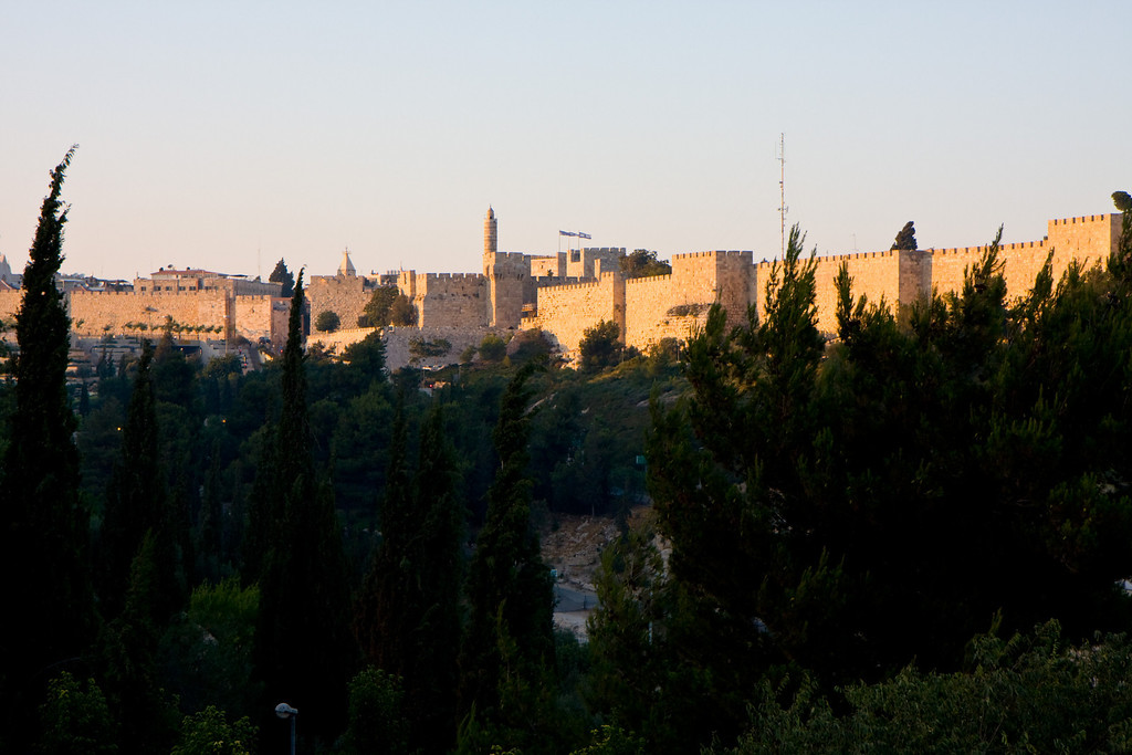 The old city walls at sunset