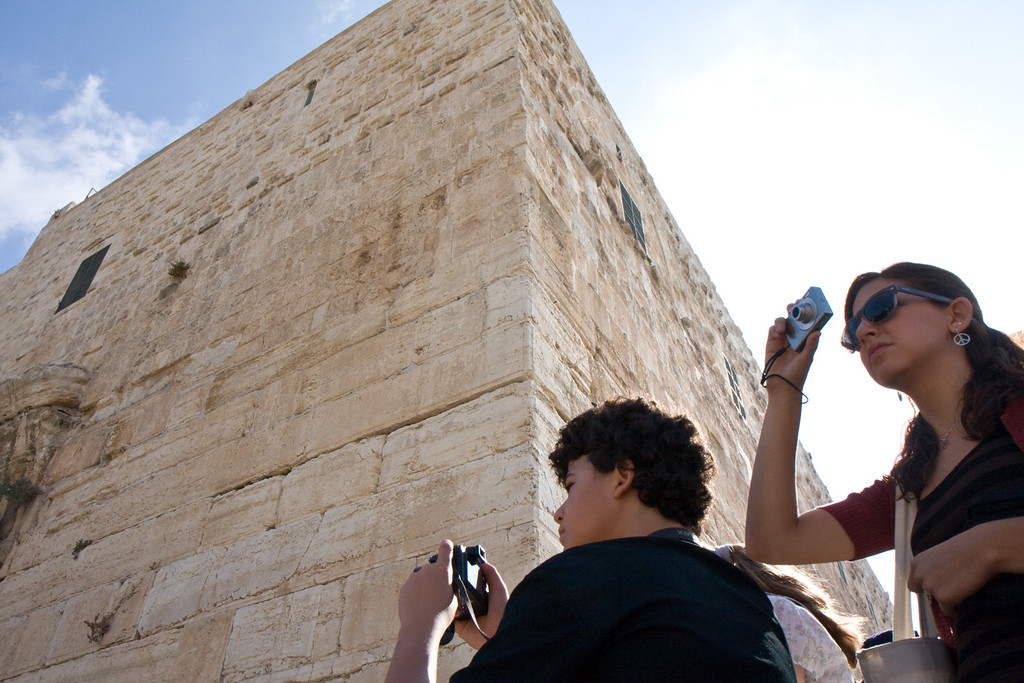 At the junction of the Western and Southern wall. These walls are retaining walls built by Herod in the 1st century BCE, to enlarge the size of the temple square built on the mount