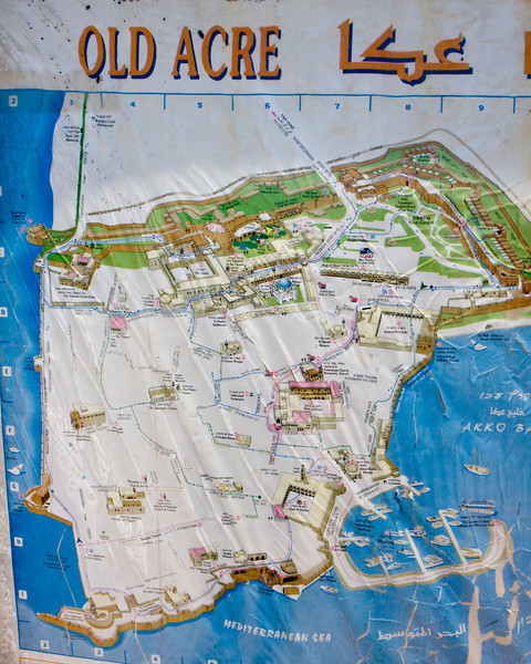 Map of old Acre. Currently this old northen city is almost all Israeli Arab.