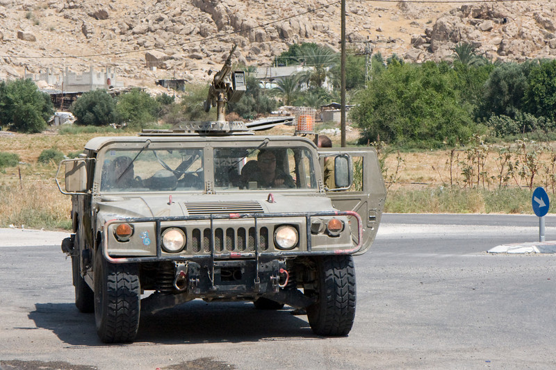 We really didn't see much military presence, other than this machine gun equipped jeep, as we rode through the Jordan river valley