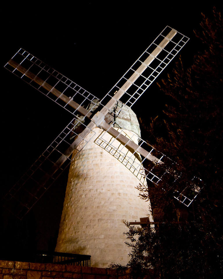 Montefiore's windmill, site of the first settlement outside the old city walls, from 1860. In those years the old city was crowded, dirty. Montefiore built this settlement, considered a real risk at that time for outside the gates bandits flourished.