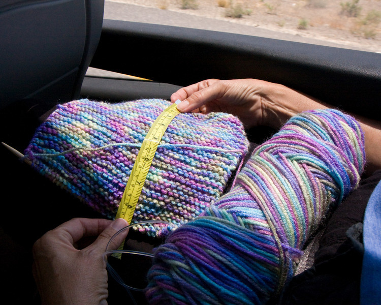 Barbara knitted squares that will be joined together to make blankets