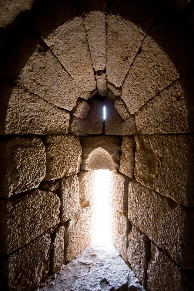 Arrow firing slit in Nimrod castle- 13th century