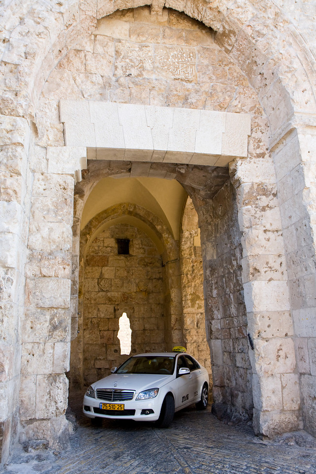 The Zion gate of the old city of Jerusalem. Part of the defenses of such a gate is a 90 degree turn to slow down attacking forces (or taxis)
