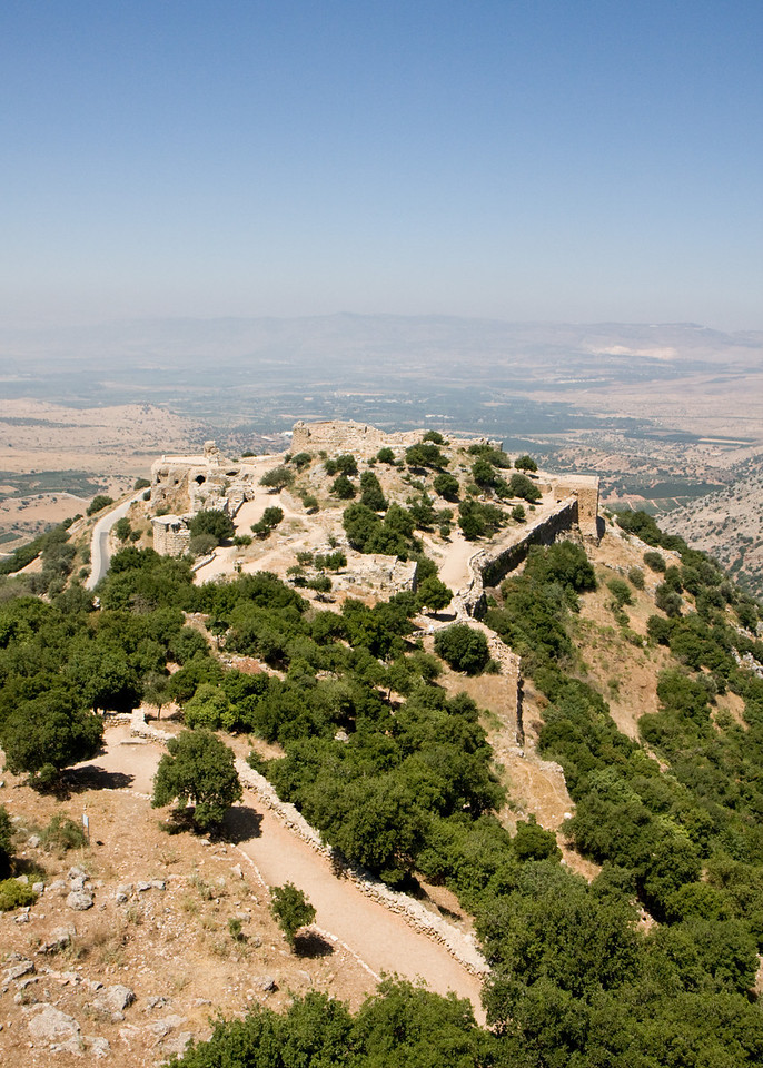 Nimrod castle, foreground, has a commanding view of the Hula Valley below. This high ground, the Golan Heights, belonged to the Syrians until Israel captured it in 1967. My kibbutz is in the middle of the valley below. In the distance are the hills of Lebanon