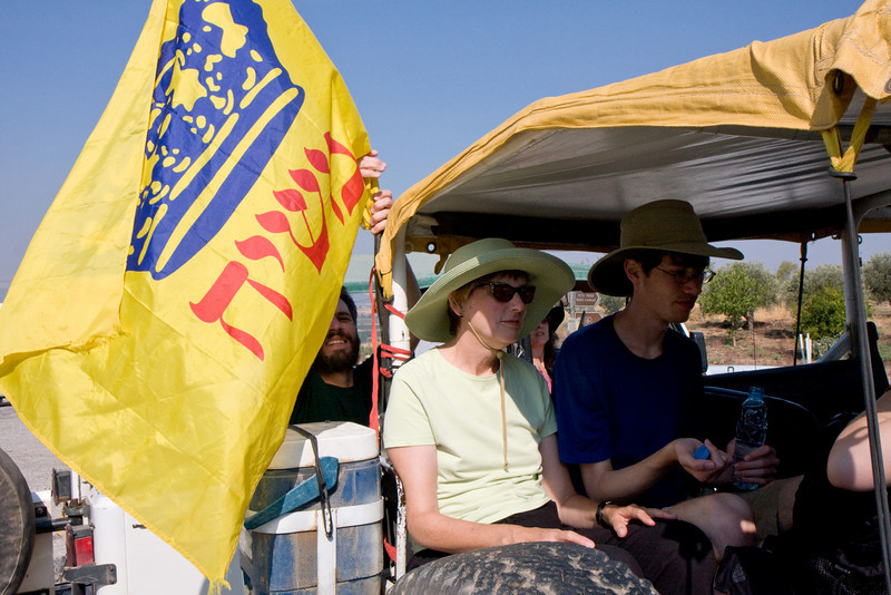 """The next day we have a jeep tour of the Golan heights. Our jeep driver has this flag, with the word """"Messiah"""" on it."""