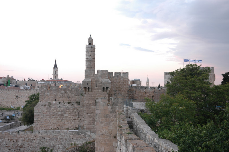 City walls leading to Tower of David and St Savior church, Old City Jerusalem