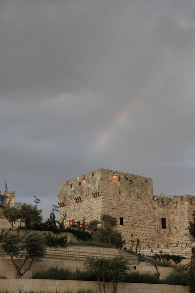 Rainbow above Jerusalem City Wall, near Jaffa Gate