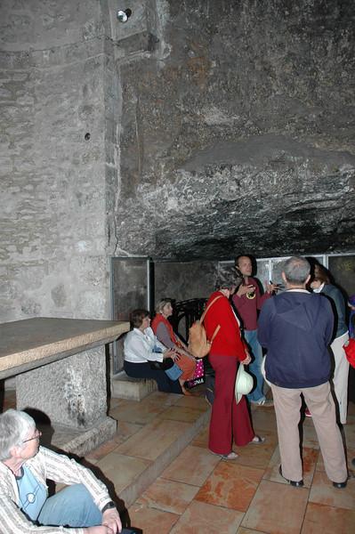Crucifixion site under this big stone??? Holy Sepulcher Church, Jerusalem Old City
