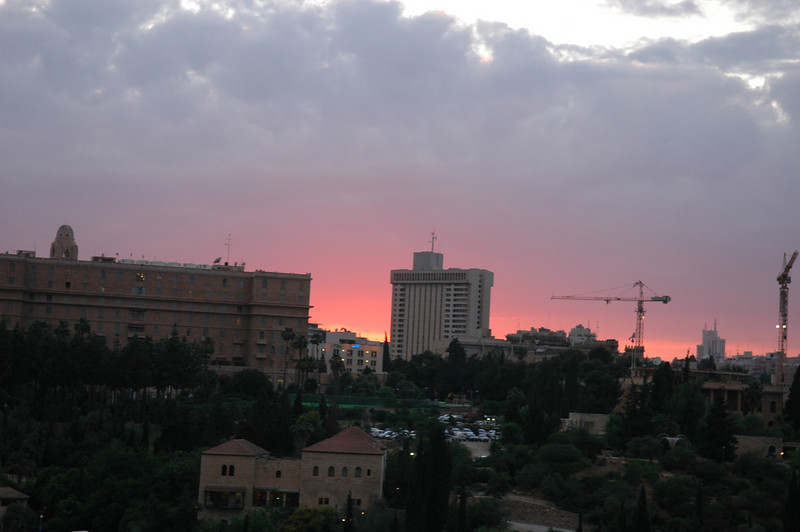 Sunset color and new buildings in Jerusalem