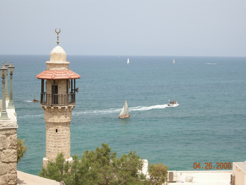 Tel Aviv Beach and Sea Mosque at Old Jaffa