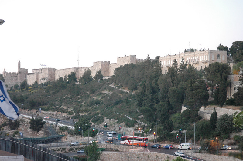 Jerusalem Old City Wall from Terrace Restaurant