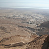 Going up to Masada. The small rectangle is a roman camp. The dead sea is beyond.