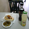 Our felafel with pickles coke zero and a grapefruit drink