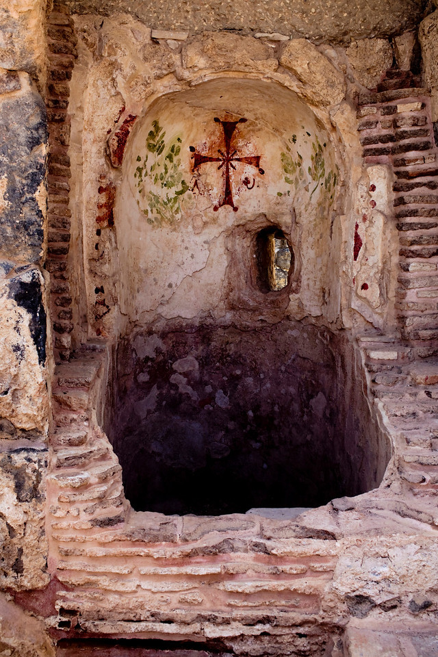 A baptismal behind the Roman sauna at Scythopolis.  The Christians tried to witness and share Christ in the midst of a debauched culture.  Here they have brought the message to just inches away (the other side of the wall).