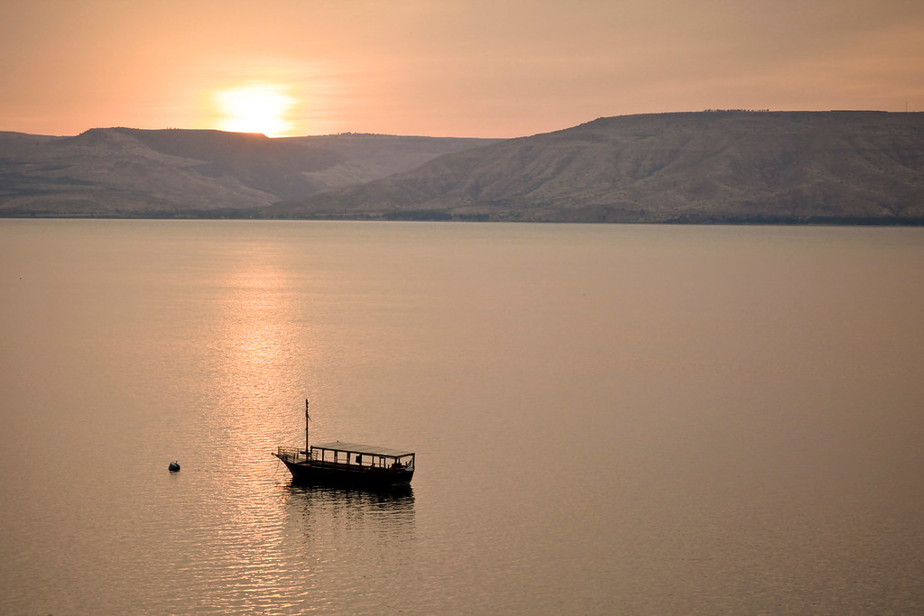 The Sea of Galilee in the early morning is wonderfully tranquil.