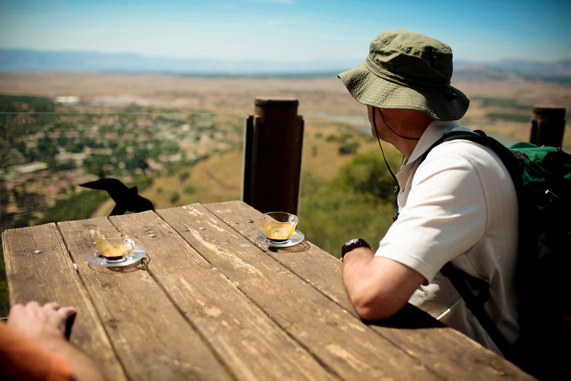Mark and Steve have coffee looking out over the border with Syria