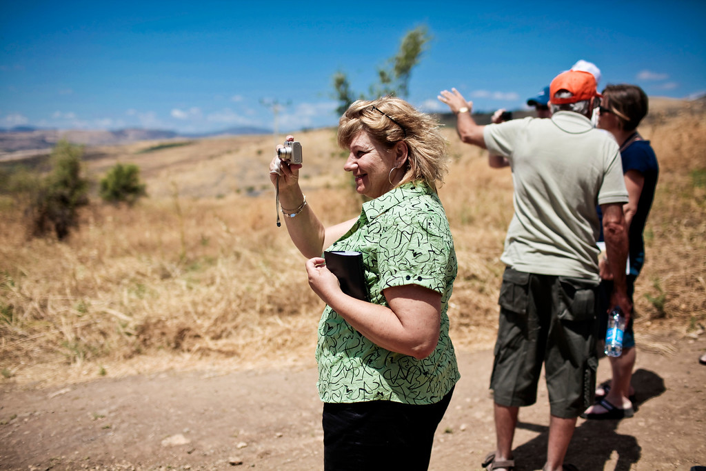 Bev capturing the moment at the Mount of the Beatitudes.