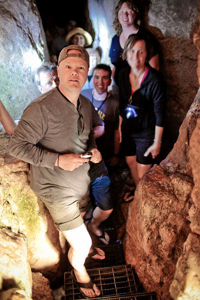 They emerge from Hezekiah's (water) tunnel.  It is long, narrow, dark and wet in there ... but they had a blast!