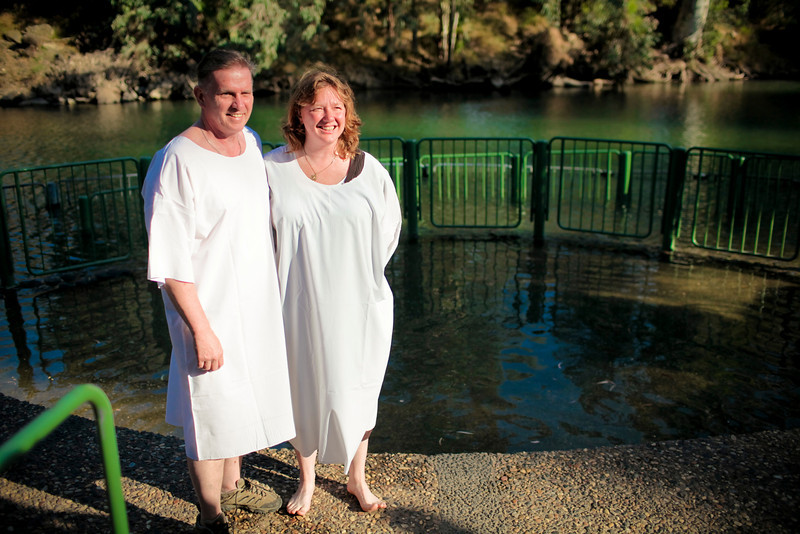 Bobbi and Staush getting ready to get baptized in the Jordan river.  This was probably no where near where Jesus or John did it but, hey, it's still a great feeling to know it is the same river.