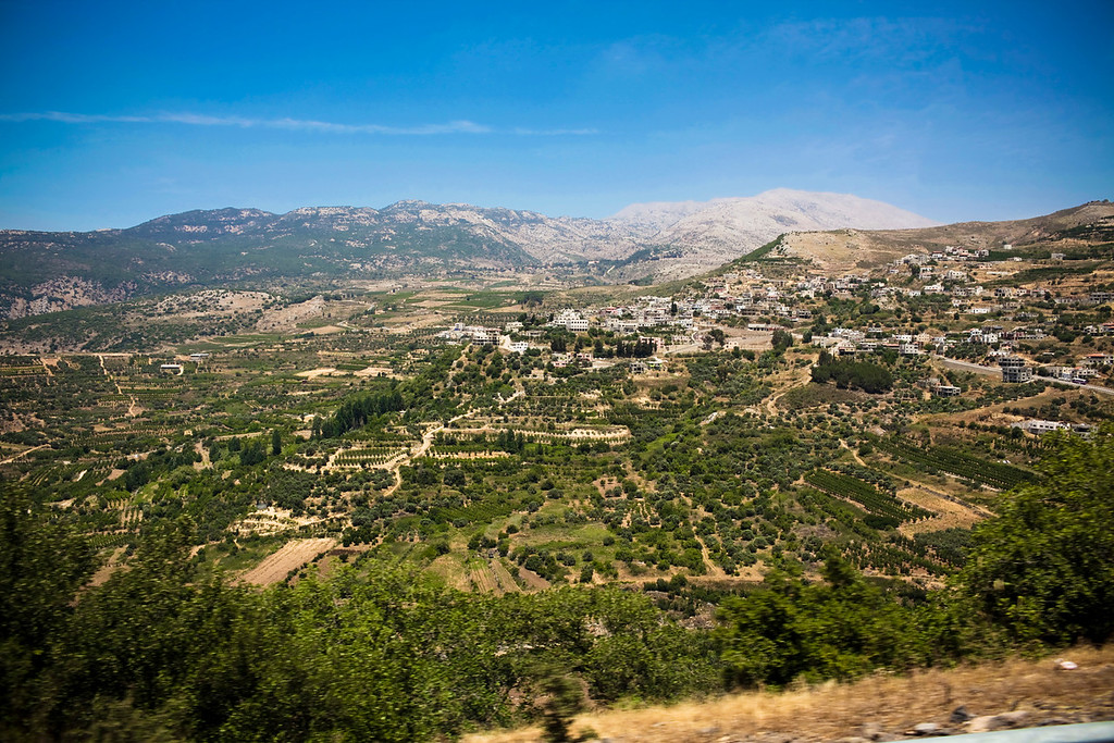 The view from the bus as we drove up to the Syrian border.  These are Druze villages along the mountainside.