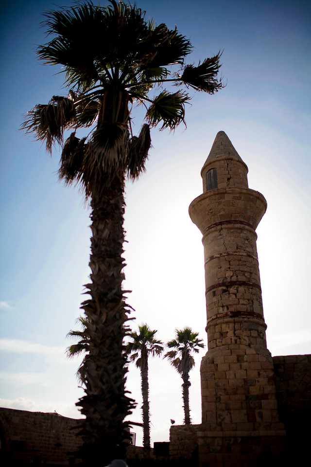 A mineret near a mosque in Caesarea from the time of the occupation of the Muslims.