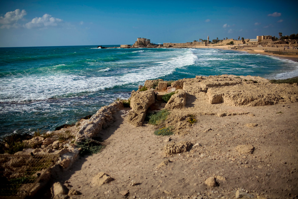 Caesarea shoreline.  Herod had build a palace that literally stood over the water on columns.  He had also pushed back the sea with technology that we can hardly replicate today.