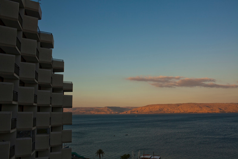 The view out the window in Tiberias at sunset facing east across the Sea of Galilee.