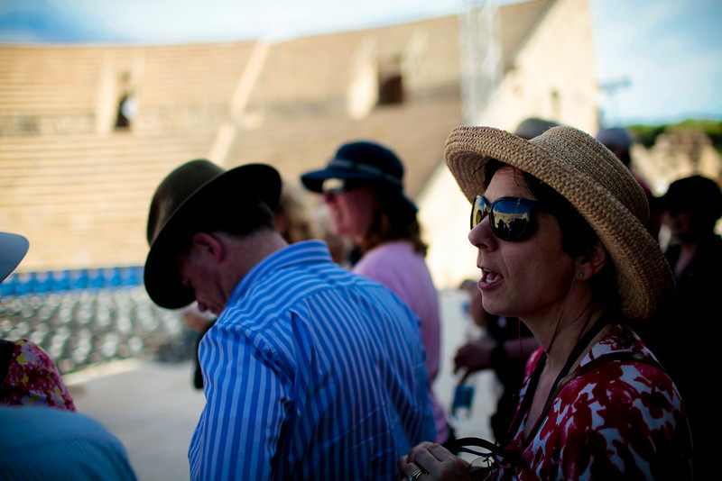 Joanna and the rest of us singing from the stage at the ampitheater in Caesarea.