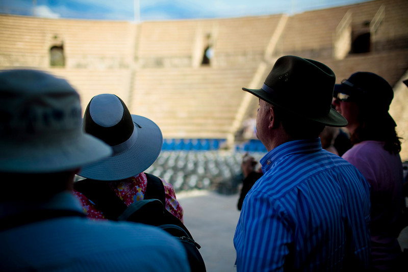 We sing some hymns in the ampitheater at Caesarea.  Nice acoustics!  Where's my electric guitar?