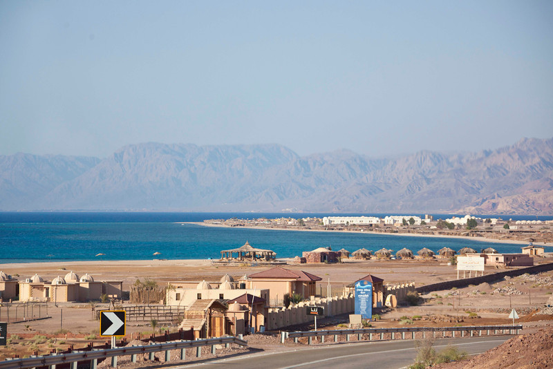The Red Sea, actually blue-green, near Elat. The land in the background is Saudi Arabia.