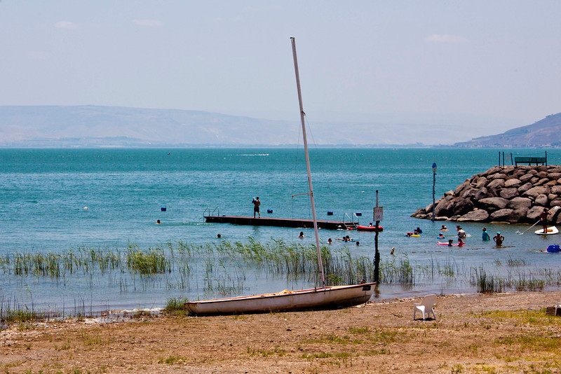 The Sea of Galilee. The water really is emerald green.