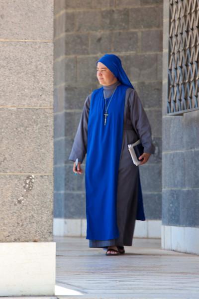 A nun at the Church of the Beatitudes.