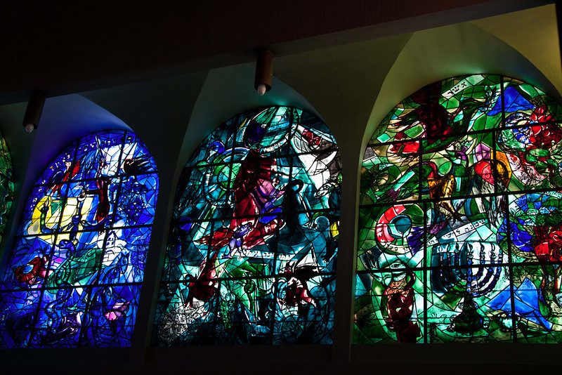 Marc Chagall's stained glass windows at Hadassah Hospital.