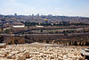 View of the Old City, Dome of the Rock in the center, Mount of Olives (the Jewish cemetery with 150,000 graves) in the foreground.