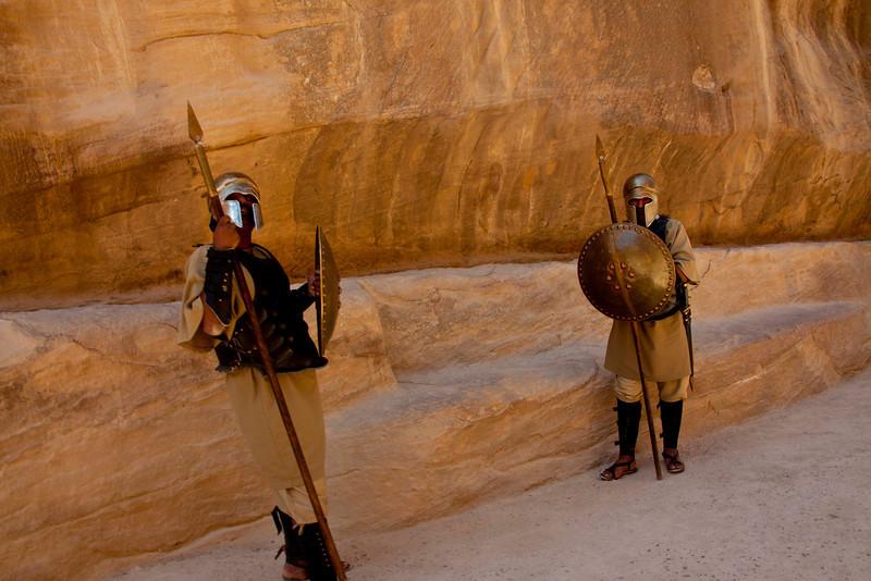 Roman Centurians guard the entrance to the slot canyon.
