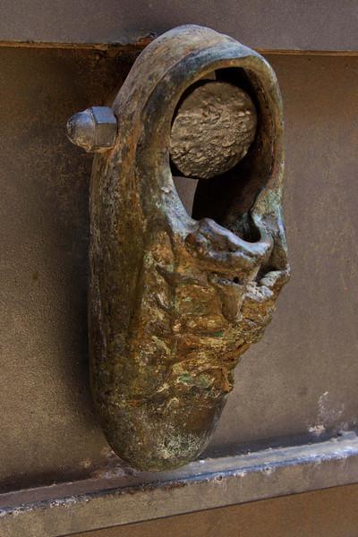 An unusual door knocker in Jaffa
