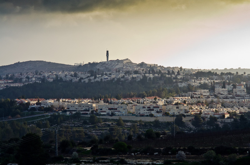 view across Tzuba Valley toward town of Menesseret in Flute Hills; Tower may be at Hewbrew University behind hill.