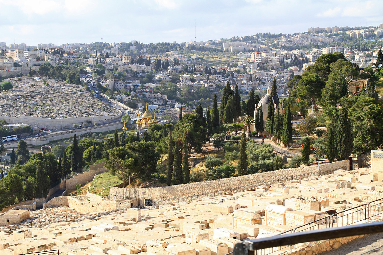 Mt. of Olives Overlook - Tombs & Gold Domes of Russian Church of Mary Magdalene