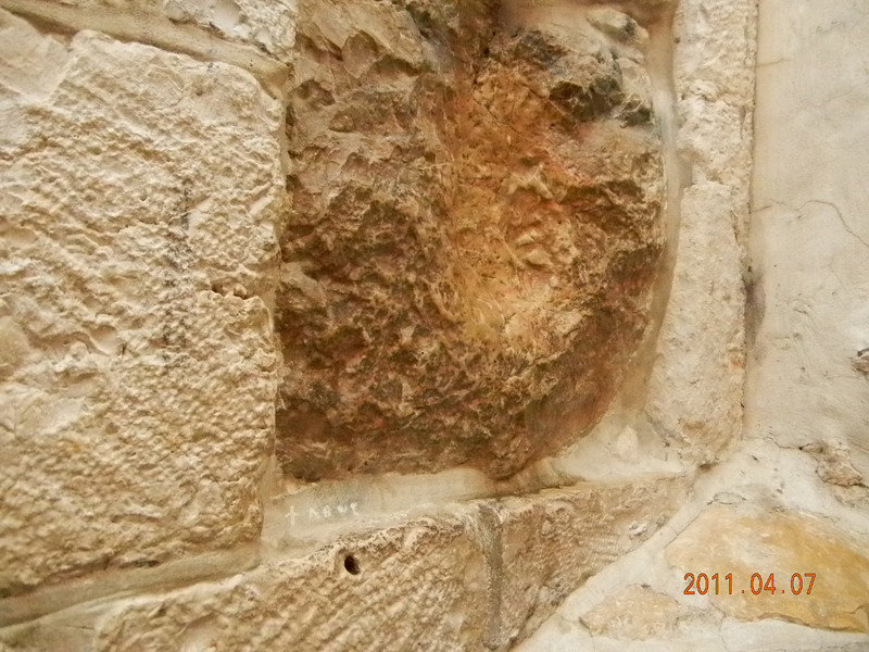 Jesus' handprint, Via Delarosa, Jerusalem Old City, Israel