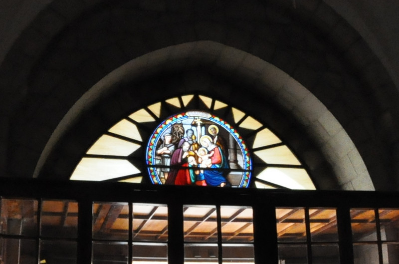 Entrance Nativity Stained Glass, St Catherine, Bethlehem, West Bank (Cropped)
