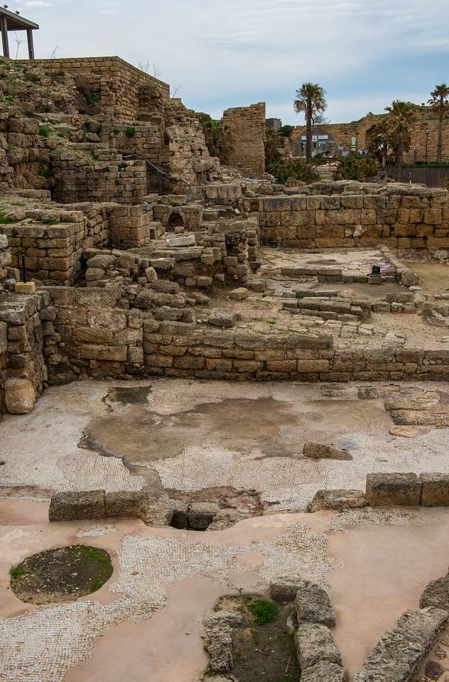 Roman bath houses with the original mosaic floors.