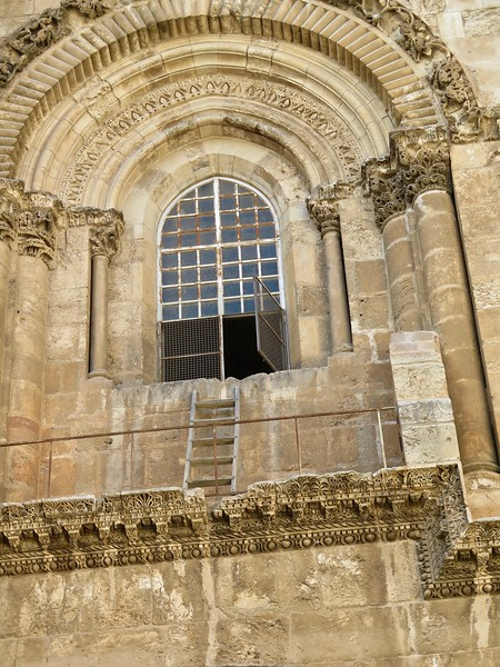 Church of the Holy Sepulchre. There are stories about this ladder. Some of them are true.