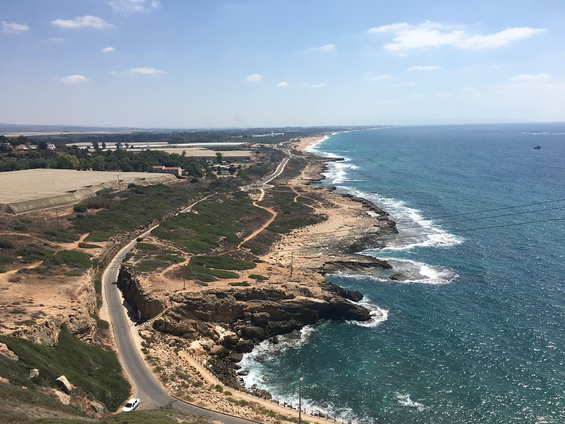 view from Rosh Hanikra looking south towards Haifa