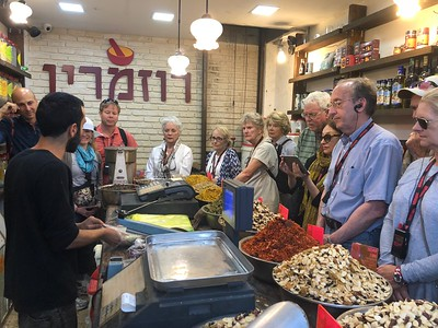 Learning about spices in the market of Mahaneh Yehudah in Jerusalem