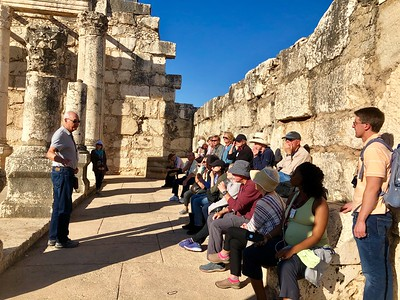 At Capernaum, with Eric talking to the group in the ancient synagogue