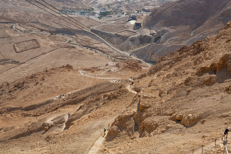 """View of the """"Snake Path"""" up to the top of Masada"""