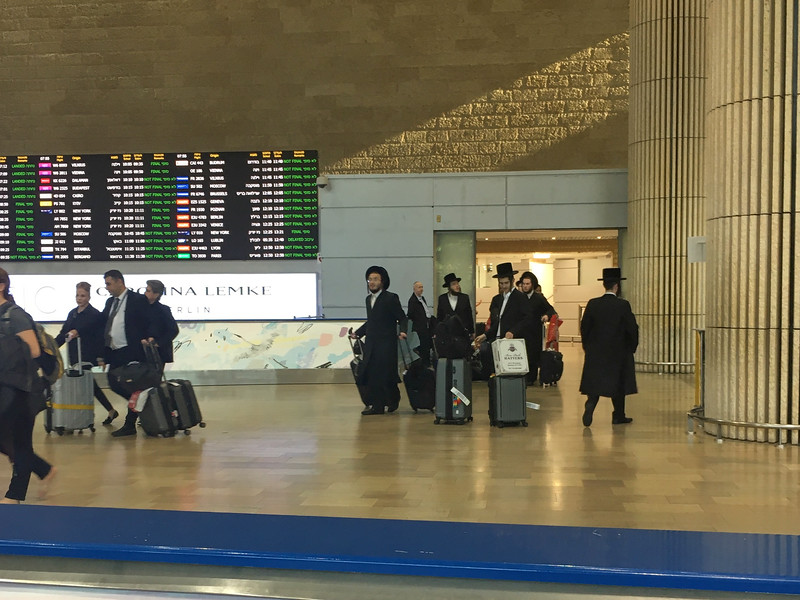 Orthodox Jews at the Ben Gurion airport.