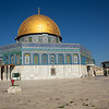 "The Dome of the Rock on the temple mount - traditional location of Abraham's (non) sacrifice of Isaac and Mohammed's Night Journey to ""the farthest mosque"""
