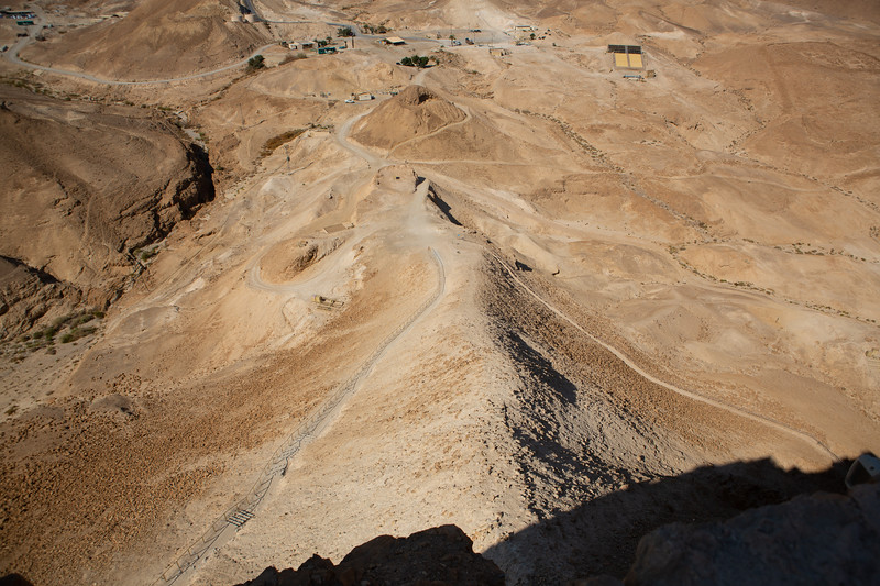Dirt hauled by the Romans to bridge the valley to Masada in order to bring/build siege works, including battering ram, up to the wall around the fortress